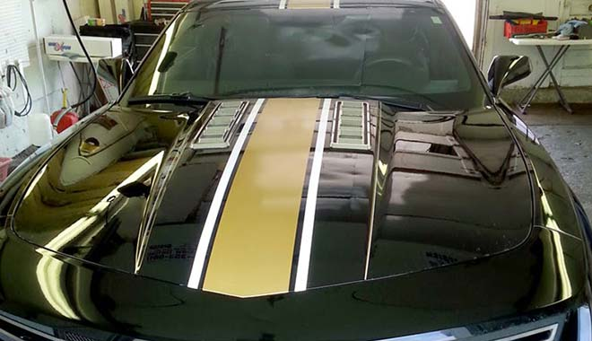 Black and Gold Racing Stripes Chevy Camaro