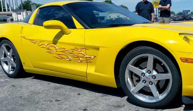 Yellow Corvette Flame Graphic